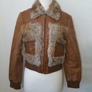 Wilson Leater Rabbit Fur Bomber Jacket